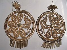 Peacock Earrings, Gold Brass Fringed Wirework, Extra Large Hoop Drops, Flower Hook, Marked China by GemParlor on Etsy