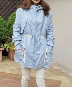 Longline Drawstring Thicken Hooded Coat