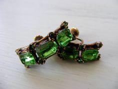 Green Rhinestone Earrings Vintage by DenimRoseVintage on Etsy, $15.00