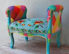 Vintage Furniture Rainbow Bench Bohemian Vanity Chair Embroidered Flower Power Vanity Stool Boho Furniture Vintage Embroidery Crocheted Flowers and Leaves Funky Furniture, Upcycled Furniture, Unique Furniture, Vintage Furniture, Furniture Decor, Painted Furniture, Furniture Design, Bohemian Furniture, Furniture Vanity