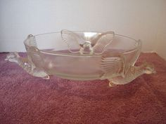 Vintage 50's depression glass 3 Pheasant Bowl Jeannette Glass Co EXC MINT footed