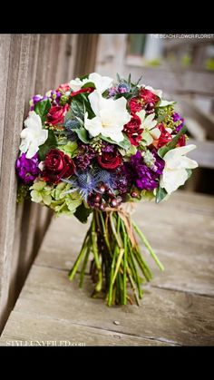 The purple flowers in the bouquet are absolutely gorgeous. No clue what kind of flowers they are, but they are super pretty. Jewel Tone Wedding, Purple Wedding, Wedding Colors, Wedding Flowers, Diy Wedding Bouquet, Rustic Bouquet, Wedding Blog, Bridal Bouquets, Wedding Ideas