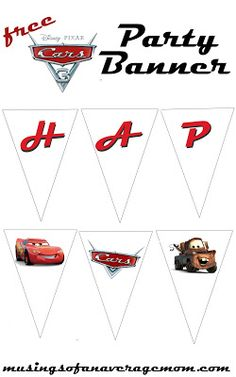 Free printable Cars 3 Birthday party banner