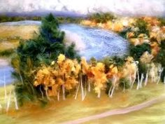 How to create an autumn landscape of wool. Master Class. - YouTube