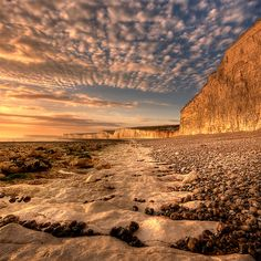 ~~Chalky path.... by Mark Leader - Sunset at Birling Gap, an enclosed pepple beach, East Dean, UK~~