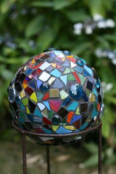 Mosaic Garden Sphere OOAK by TaDahpdx on Etsy, $150.00