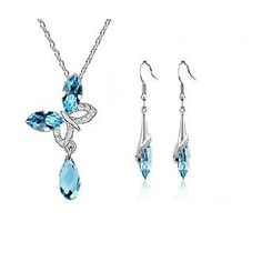 Real White GP Drop Earrings And Necklace Set. Fashion Jewellery