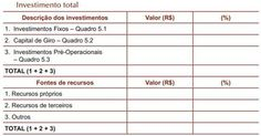 PLANO FINANCEIRO: Modelo de tabela do Investimento Total