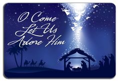 CHRISTMAS NATIVITY SCENE O COME LET US ADORE HIM METAL SIGN NOVELTY GIFT