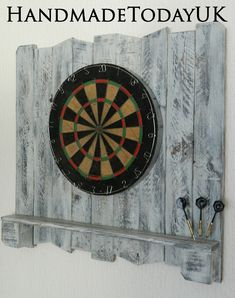 Handmade Rustic Driftwood Dartboard Backboard with Shelf Recycled Pallet Wood