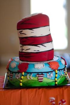 "Dr Seuss baby shower cake (top of hat reads ""a persons a person no matter how small)"