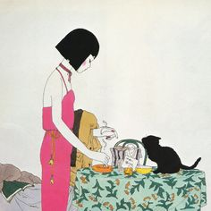 "taishou-kun: "" kruma: ""Seiichi Hayashi, 1982 "" Hayashi Seiichi 林 静一 - Japan - 1982 "" Art And Illustration, Illustrations, Real Doll, Wow Art, Hayao Miyazaki, Cultura Pop, Asian Art, Japanese Art, Neko"