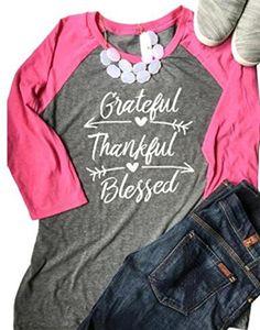 3b8a940ce196a Grateful Thankful Blessed Baseball T-Shirt