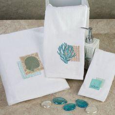 Seaside Embroidered Coastal Bath Towel Set Part 39