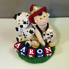 Custom Fireman Cake Topper for Birthday or Baby Shower by carlyace, $38.95