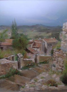 Peinture aux pastels secs représentant un village provençal ...