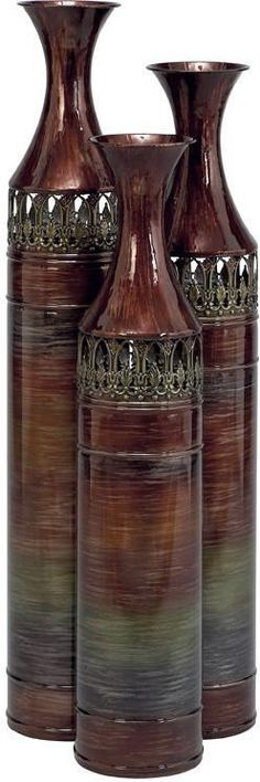 Benzara 63575 Metal Vase Set Of 3 Cylindrical Shaped