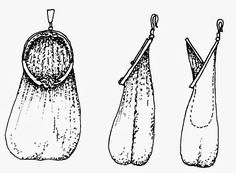 Drawing of a hinged type purse by O. Goubitz, showing that the small bag is open when the hinge is down, and the large bag is open when the hinge is up.