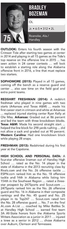 Bradley Bozeman player profile | 2016 Football Spring Guide by the Alabama…