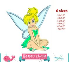 Applique Tinker Bell. Peter Pan. Machine Embroidery by EmbryLab