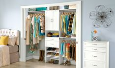 Neat and tidy shelves, bins, and boxes all in a row…If only every wardrobe were so orderly and calm. Read on for pro tips to help you carve out closet storage that tames the chaos Closet Storage, Closet Organization, Declutter, Organize, Classy Closets, Reach In Closet, Neat And Tidy, Sadie, Shelves