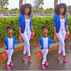 Great outfits for shopping. Mom Daughter Matching Outfits, Cute Little Girls Outfits, Mommy And Me Outfits, Family Outfits, Kids Outfits, Black Kids Fashion, Cute Kids Fashion, Baby Girl Fashion, Mommys Girl