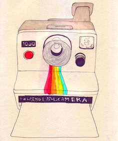 Polaroid drawing with a pop of color