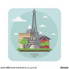 paris eiffel tower travel art drink coaster