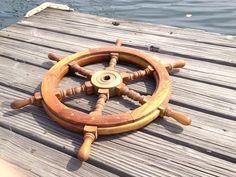 VINTAGE SHIPS WHEEL Wooden Classic Boat Ship Helm Sailboat Sailing Fishing Wood | eBay