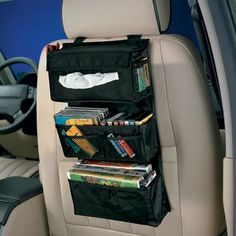 Backseat Entertainment Storage from Clever Container! Organizer Auto, Car Organizers, Pocket Organizer, Car Storage, Camping Storage, Storage Bins, Storage Ideas, Car Hacks, Car Travel