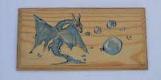 Dragon bulles , plaque de porte , aquarelle sur bois vernis Dragons, Bubbles, Polish, Watercolor Painting, Woodwind Instrument, Kites