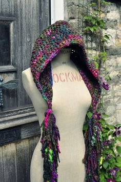 Crochet hooded scarf hat snood tassled boa 'Goddess by Innerspiral