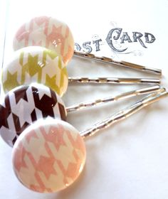 Houndstooth Bobby Pin Set in Chocolate by SecondEditionJewelry, $17.00