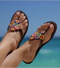 Masai inspired Bayo sandals add colour to any outfit, with tribal chic. Crochet Sandals, Beaded Sandals, Crochet Shoes, Crochet Slippers, Bare Foot Sandals, Shoes Sandals, Flats, Fabric Beads, Beads And Wire