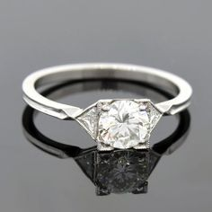 Art Deco Platinum Diamond Engagement Ring 0.84ct – A. Brandt + Son