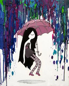Marceline Adventure Time Inspired Art Print  - Daddy's Little Monster - Marcy - Vampire Queen - Crayon Art - Melted