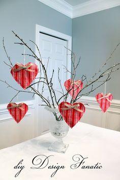 Vintage Valentine Hearts, Valentine Ideas,Valentine's day, Valentines craft ideas definately use tree in tin vase