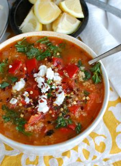 Tomato Red Pepper Bulgur Soup is a vegan soup that boasts smoky and sweet flavors. This soup is hearty, healthy and will make your taste buds happy. You can easily bulk this soup up with chickpeas, white beans or grilled chicken. #soup #vegan #vegetarian #tomato #cleaneating
