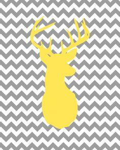 Yellow Deer Head Gray Chevron Print-8x10- Nursery, Minimalist, Decor, Baby, Shower, Boy, Girl, Wall, Art, Digital, Animal, Zoo, Gift