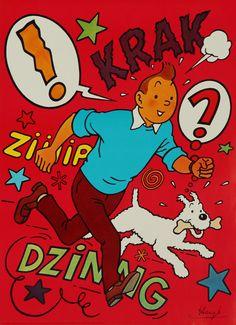 1970 Tintin Poster Original Vintage Poster by OutofCopenhagen Haddock Tintin, Tin Tin Cartoon, Herge Tintin, Vintage Posters, Vintage Ads, Animation, Canvas Prints, Adventure, Superhero
