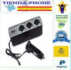 ADAPTADOR LADRON DUPLICADOR MECHERO DE COCHE TRIPLE TOMA CARGADOR USB ENCENDEDOR
