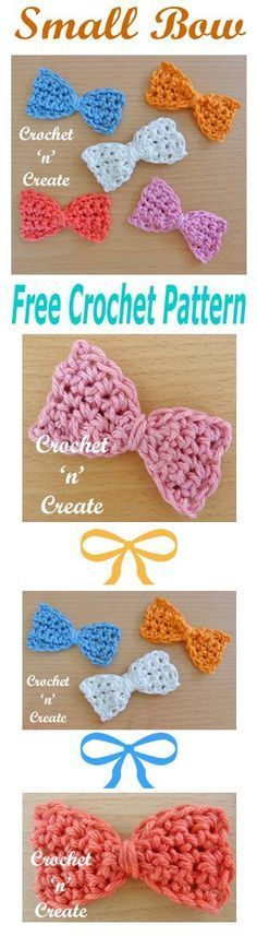 Free crochet pattern for small bow, adorns most items. #crochet