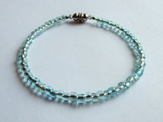 Aqua Blue Crystal Glass Bead Magnetic Anklet by Sydric on Etsy, $9.00