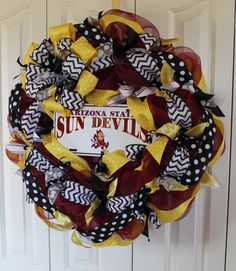 Arizona State Sun Devils Deco mesh wreath. ASU decor.  Sun Devils home decor.  ASU wreath by MadyBellaDesigns on Etsy https://www.etsy.com/listing/228024493/arizona-state-sun-devils-deco-mesh