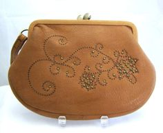 New Fossil Brown Tan Leather Flower studs Wristlet Wallet Clutch FREE Shipping…