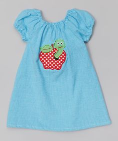 Look at this Turquoise Gingham Seersucker Apple Dress - Toddler & Girls on #zulily today!