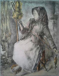 Varga Nándor Lajos (1895 - 1978) Színezett rézkarc Mihály Gyűjtemény