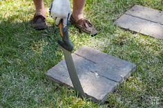 How to create a paver stone walkway the easy way. All you need is a Fiskars machete and paving stones bought at the home improvement store.