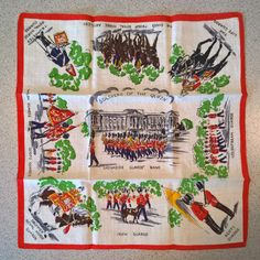 Soldiers of the Queen Souvenier Handkerchief - FREE SHIPPING by VintageRevisitedWA on Etsy