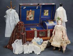 Petite French Bisque Poupee by Leontine Rohmer with Trunk and Lavish Trousseau 15,000/21,000
